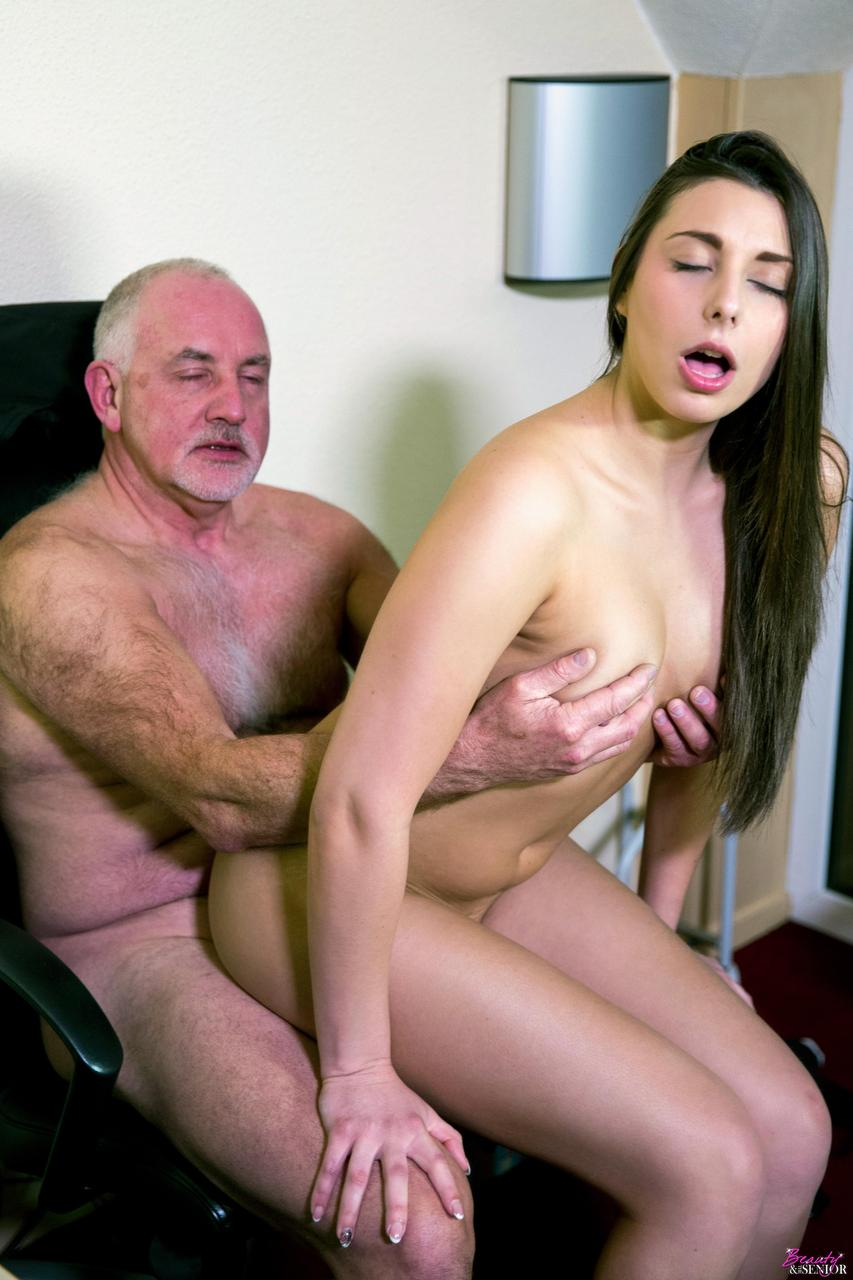Horny, old man is licking a hot girl's ass hole and fucking her