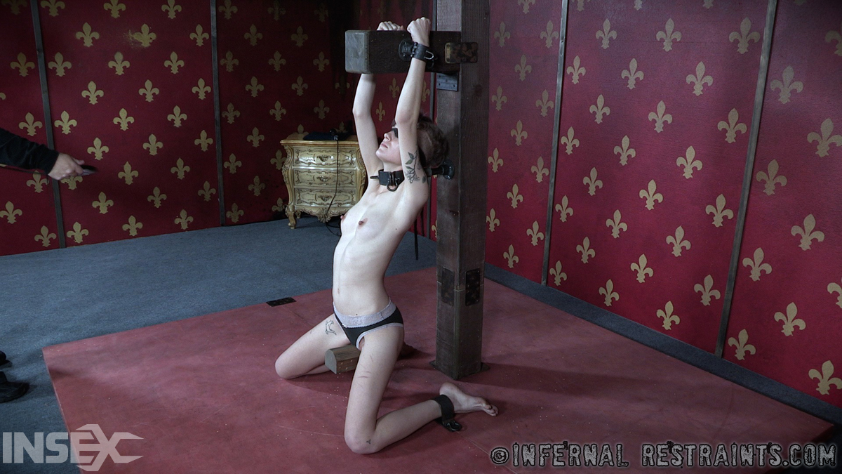 Fettered slave Billy Nyx crucified with papillas clenches and tooshie hook in rasping Bdsm porn photo #317829150 | Infernal Restraints, Billy Nyx, Anal, Ass, Blindfold, Bondage, Clothed, Dildo, Legs, Nipples, Panties, Pussy, Shaved, Skinny, Tattoo, Tiny Tits, mobile porn