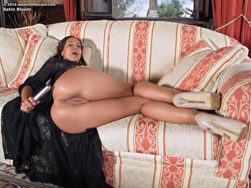 milf satin bloom in sheer dress and heels spreading ass & toying
