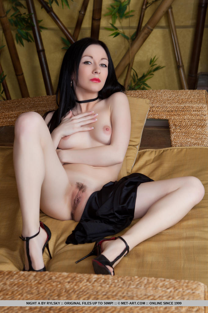 Skinny Euro centerfold Night adores stripping and spreading her cunt