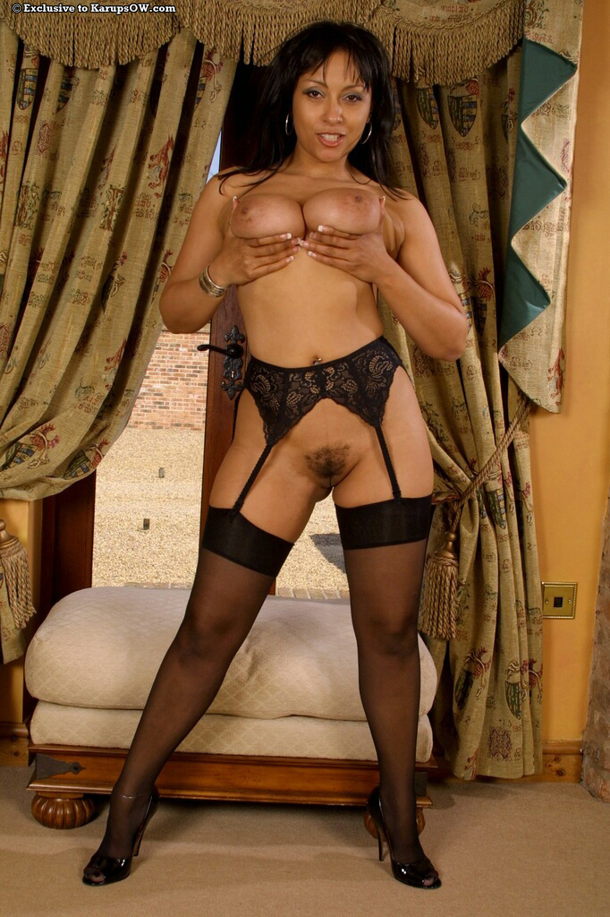 ... Amateur mature model in satin lingerie baring big beasts & fingering  pussy ...