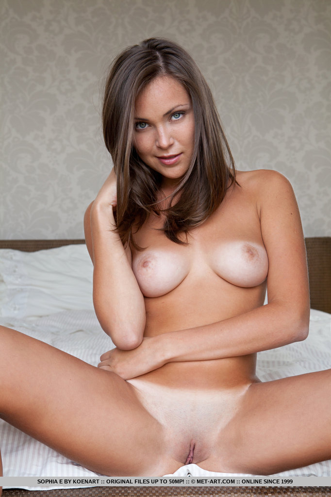 Brunette naked tits spread have