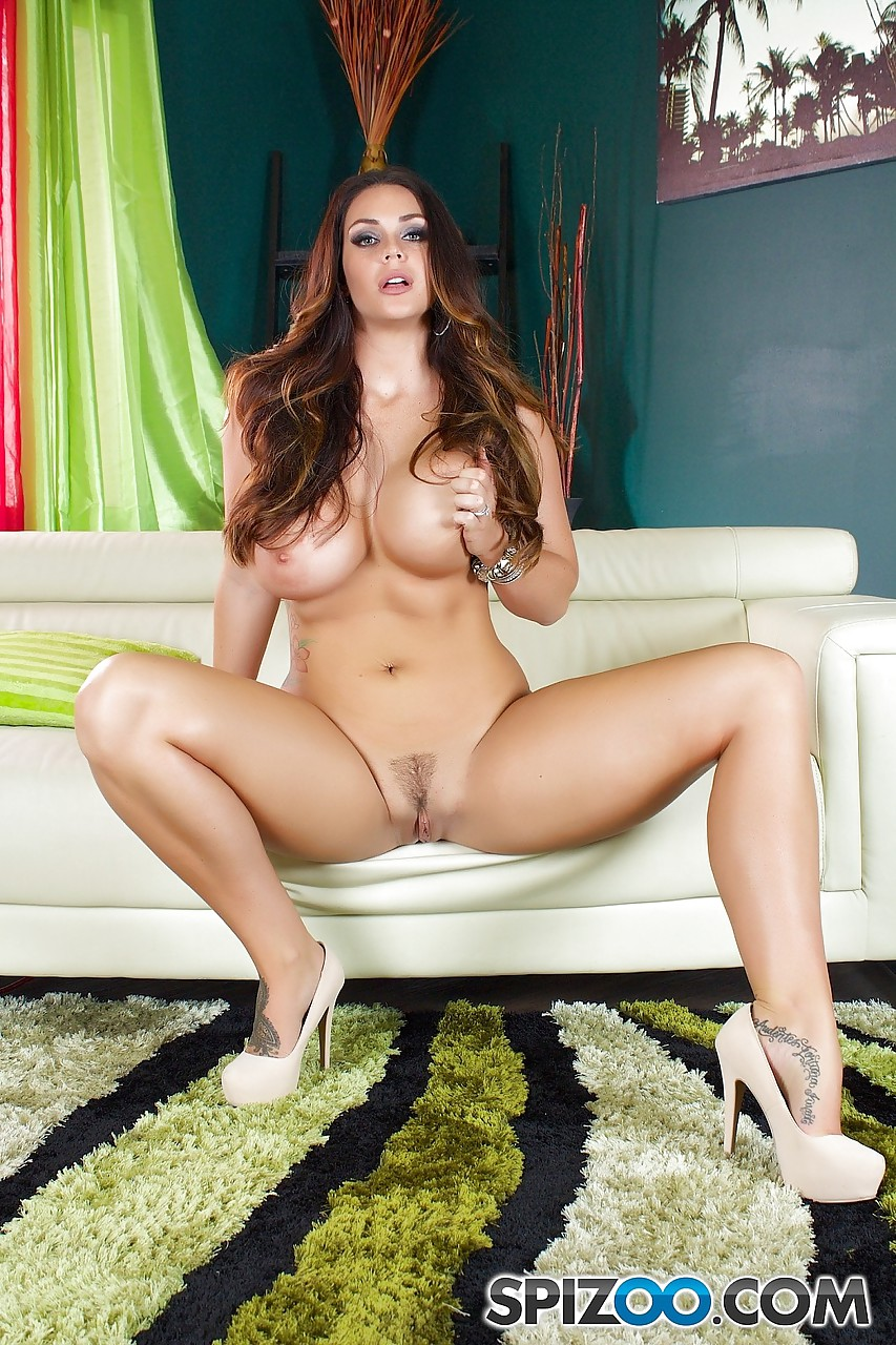 Huge titted tattooed Alison Tyler spreading naked pussy wearing ...