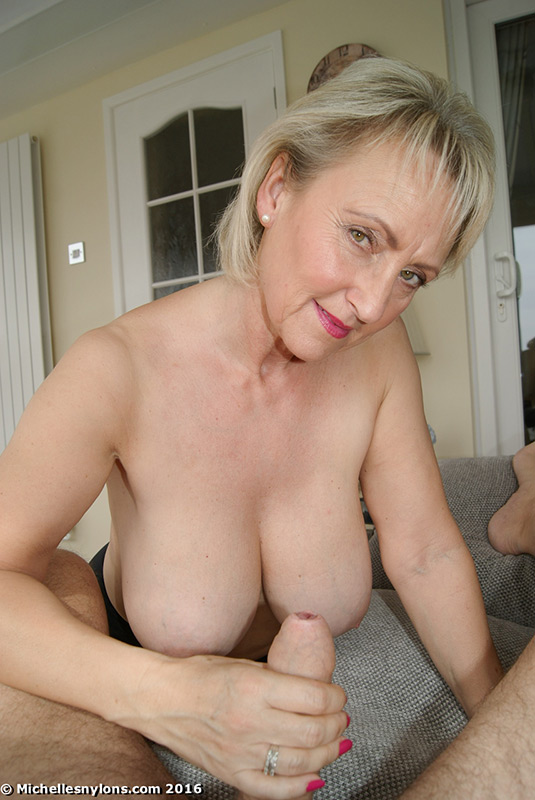 Shoulders down Blonde mature michelle nylons the