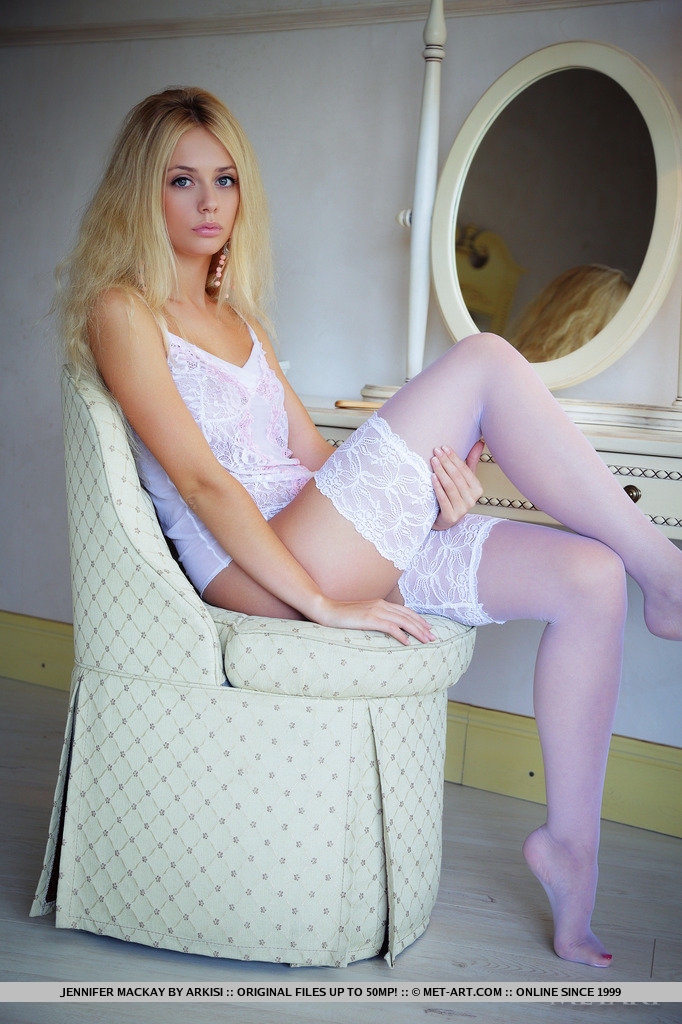 Hot nude blondes white stockings