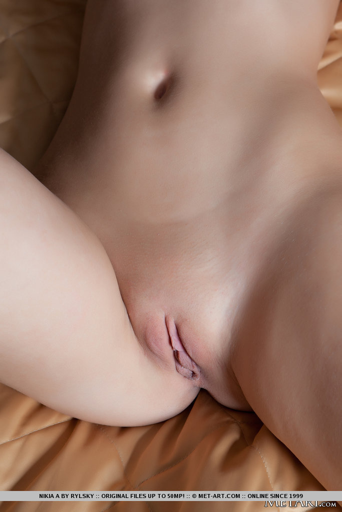 Naked shaved close up pussy