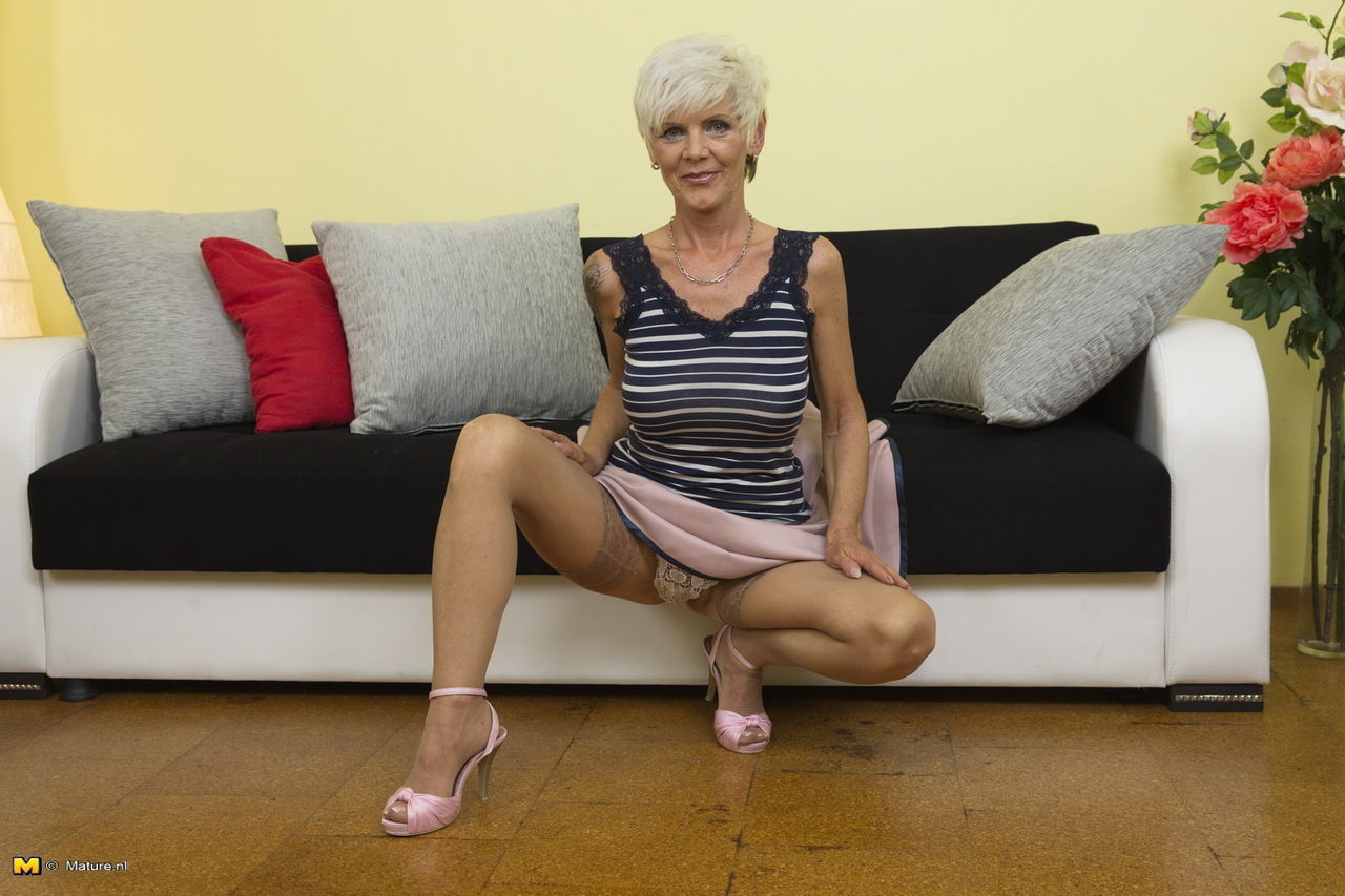 Granny in tan stockings