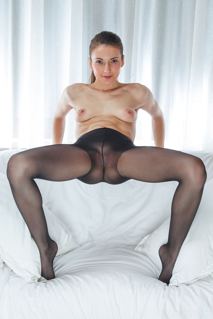In black pantyhose teasing nice young — 8