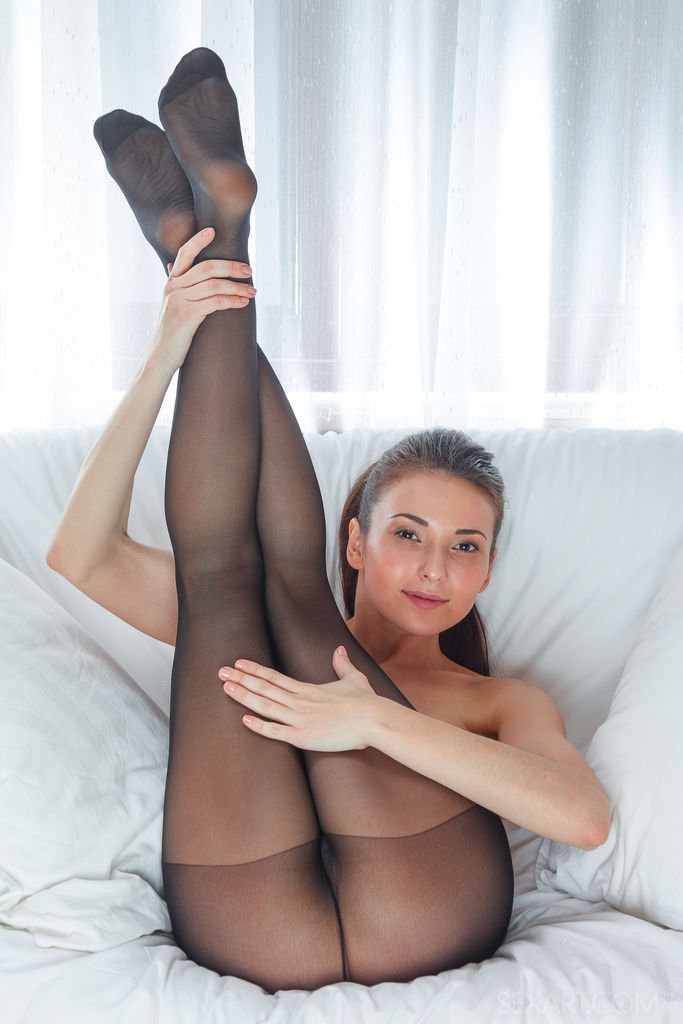 Hot shaved pussy in nylon stockings