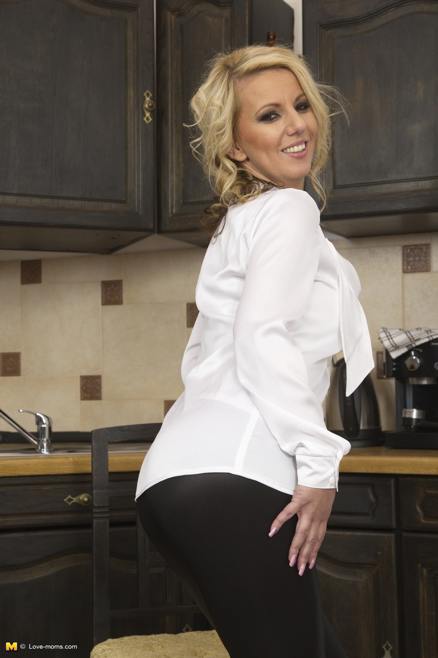 hot blonde wife kitchen - ... Hot blonde wife unzips in kitchen and plays with her moist twat and  dildo ...