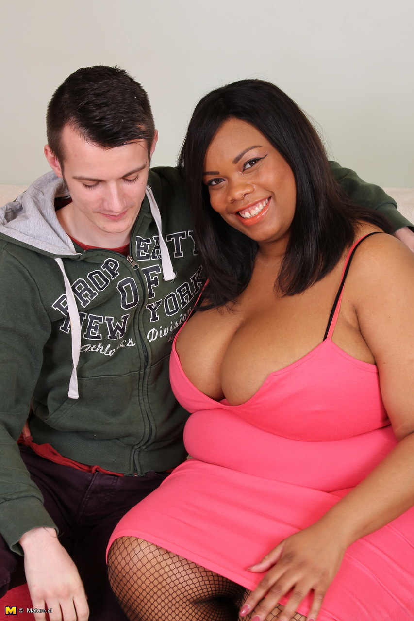 pretty black bbw seduces young white boy for his first sex lessons