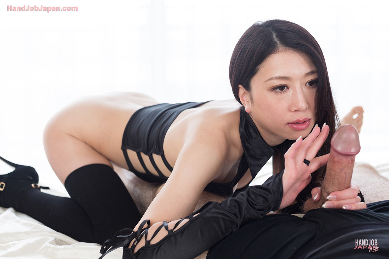 Japanese handjob in black dress