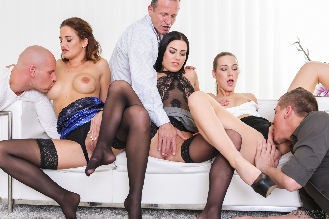 A piping hot pantyhose group sex