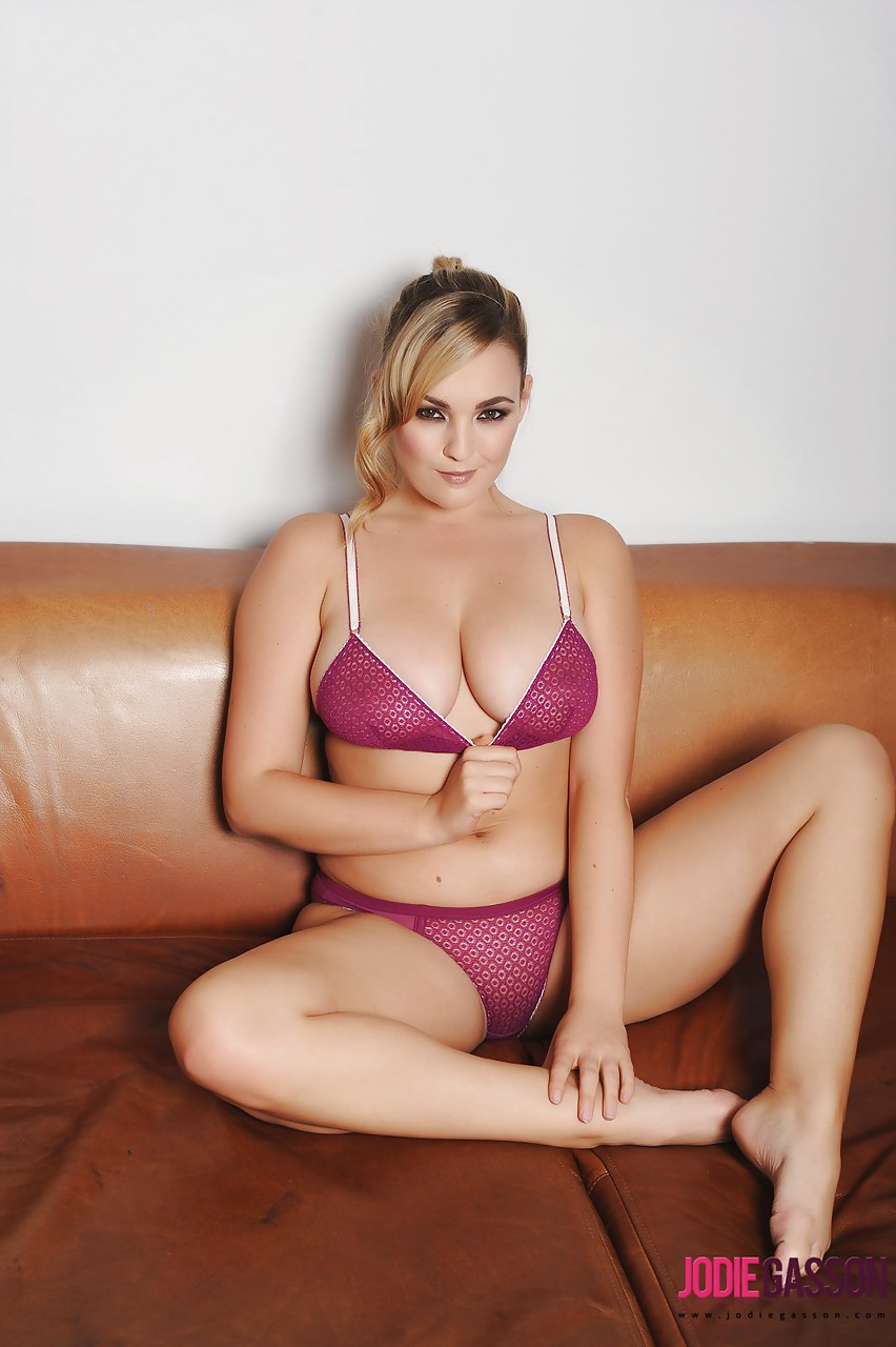 chubby jodie gasson in sheer panties and bra baring her big tits