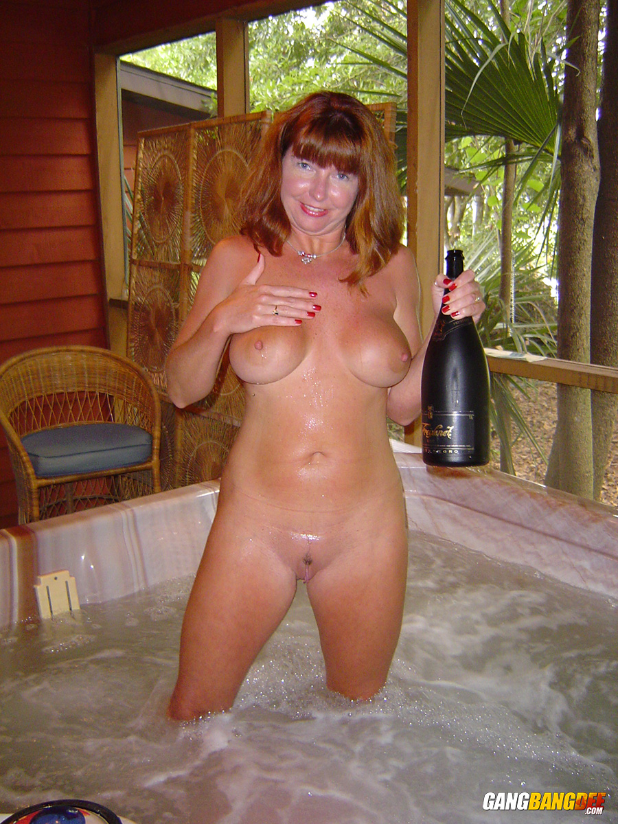 mature naked women in a hot tub
