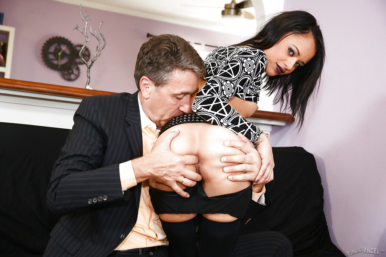 small skinny holly hendrix ball licking, getting ass fingered & anal
