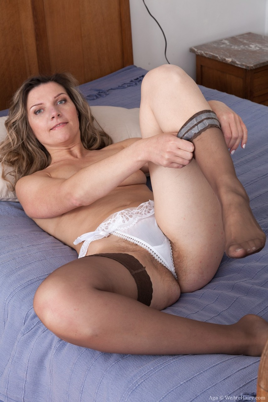 Milf, gold satin blouse, silky satin panties,nylon stockings