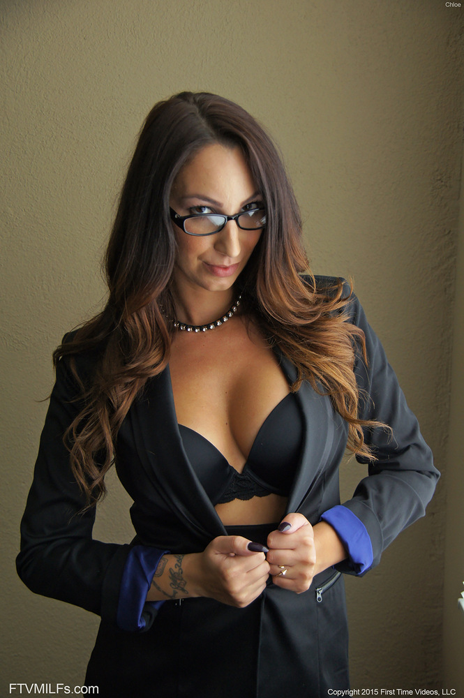 Big Tits Glasses Secretary - Leggy secretary exposes her nice tits to go with a no panty ...