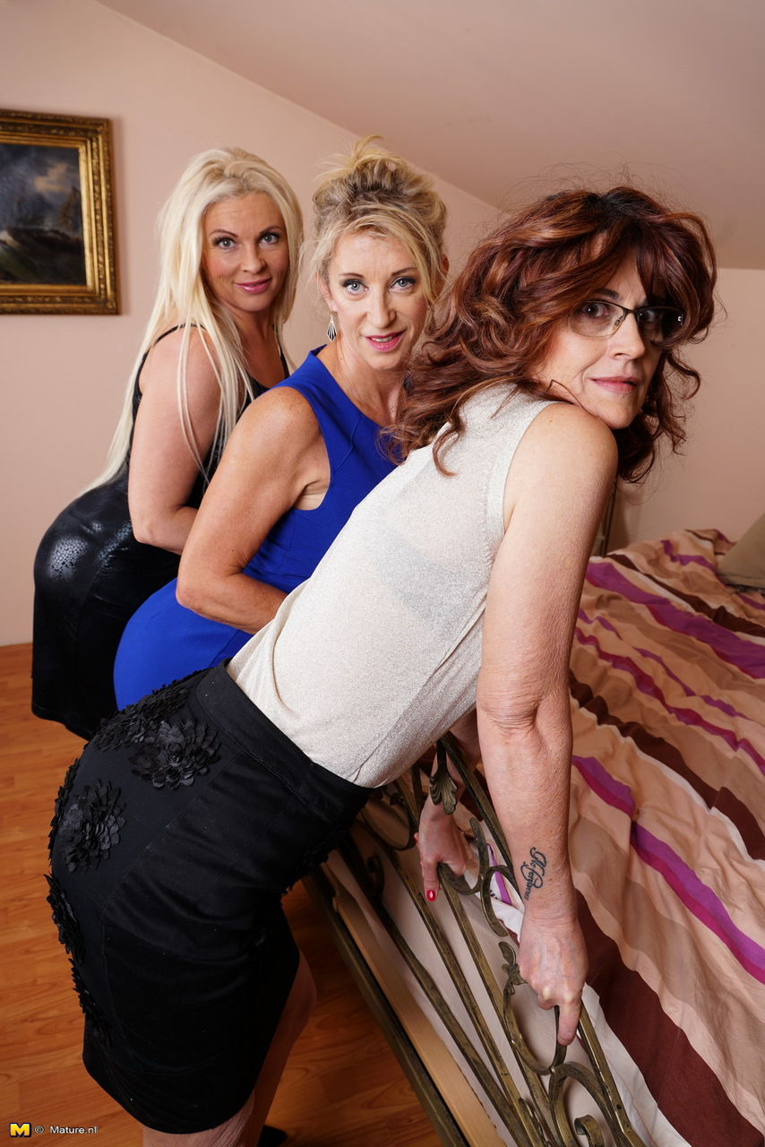 Lesbian threesome with mature