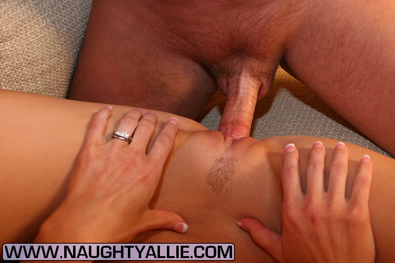 Bit titted blonde wife Naughty Allie takes an external cumshot after fucking