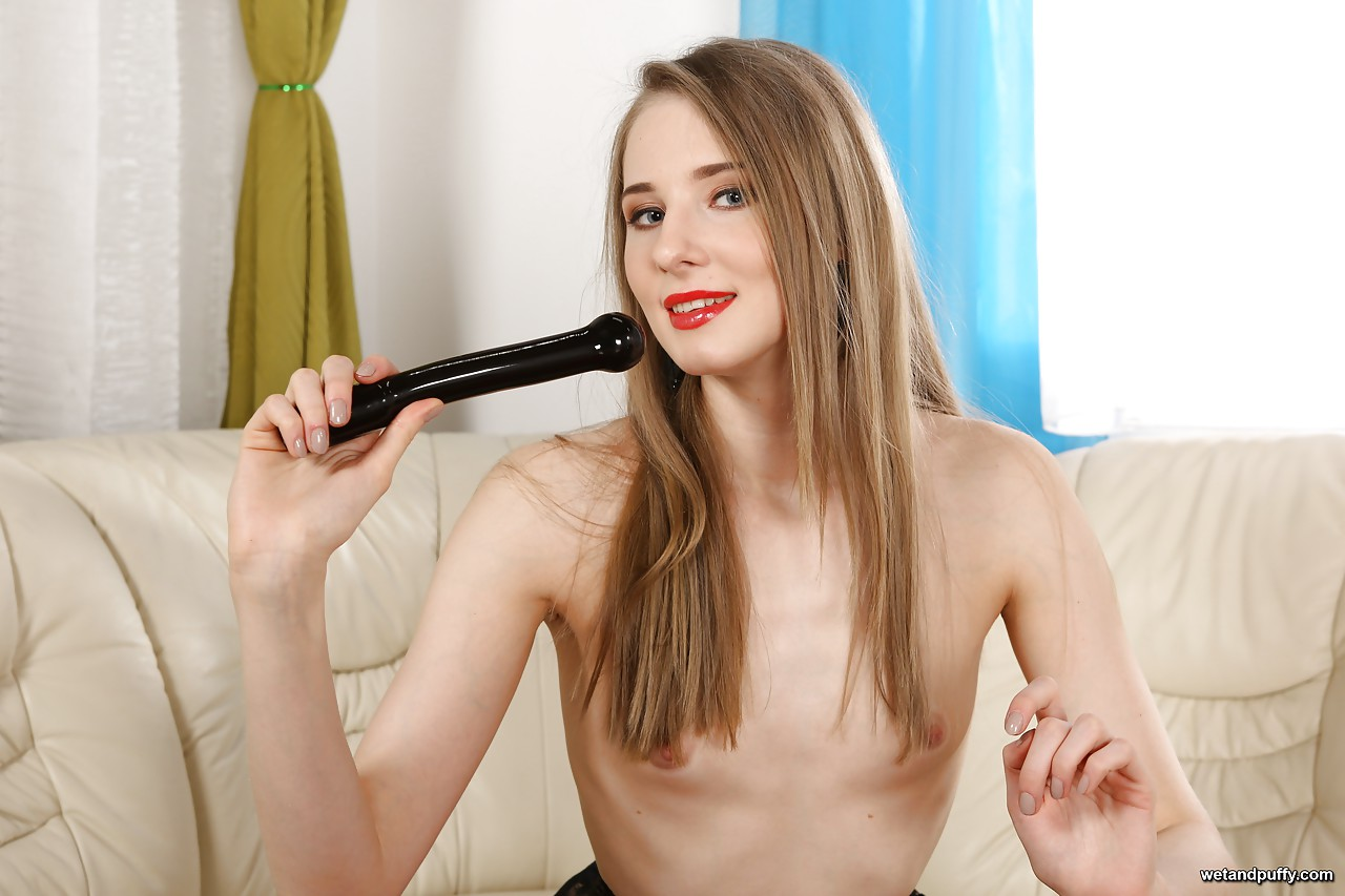 Flat Chested Teen Rides Dildo Machine - Slutloadcom