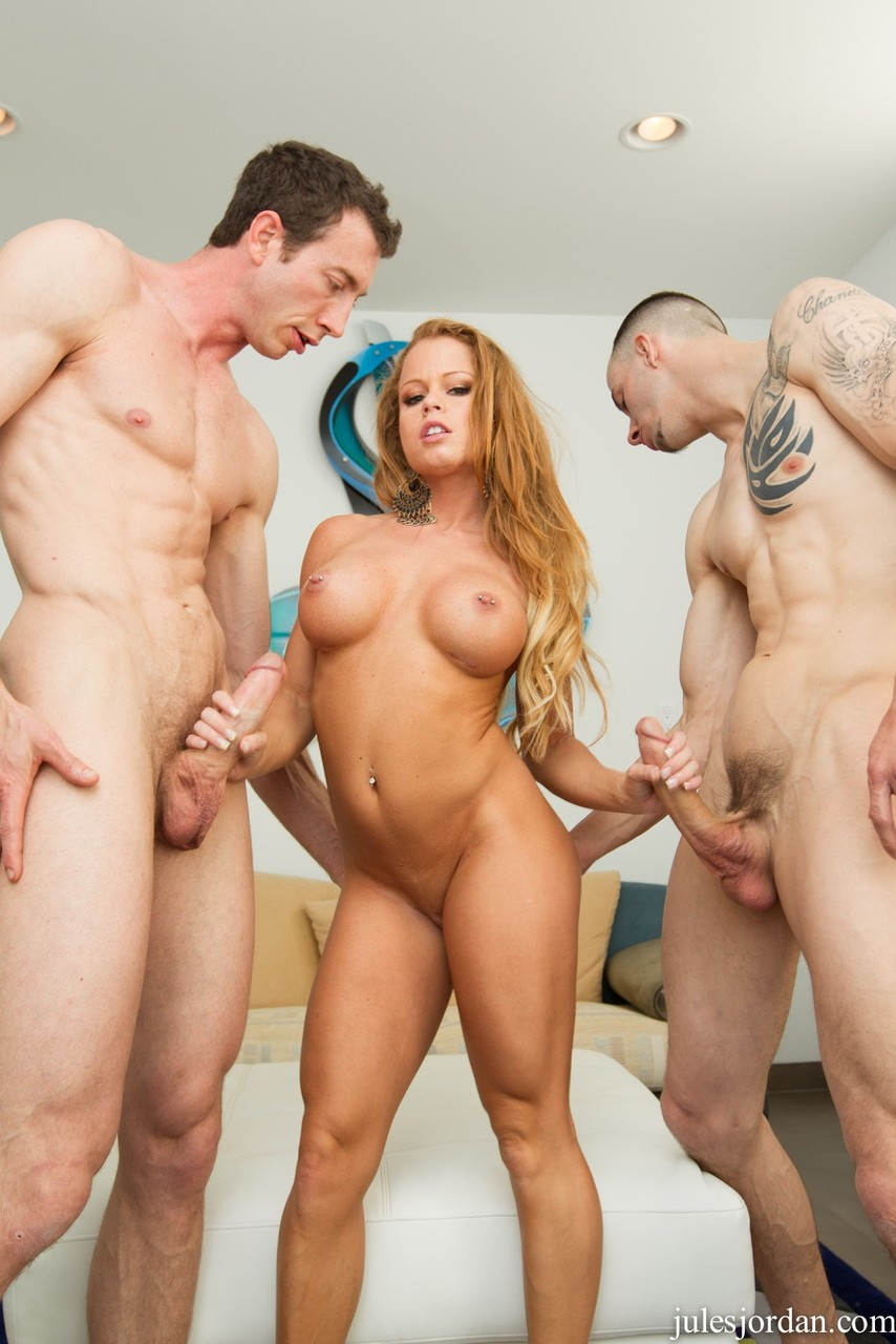 Big titted hot ass Nikki DeLano takes hard big cock in both ends in threesome