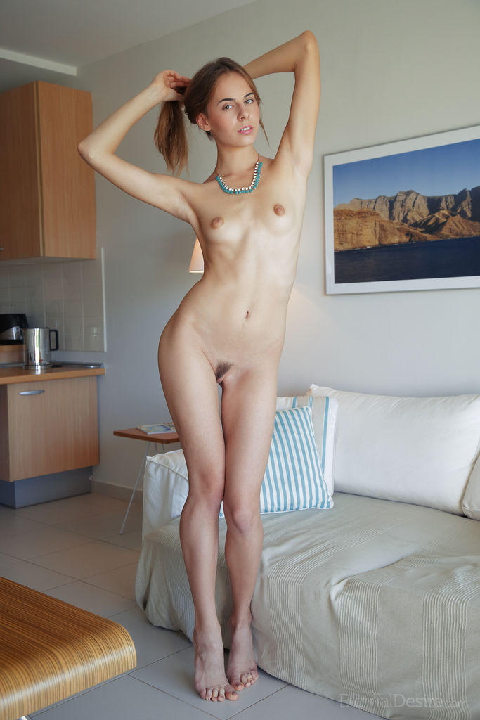 Nude Teen Girl Gracie A Spreads Her Long Legs To Display Her Pussy