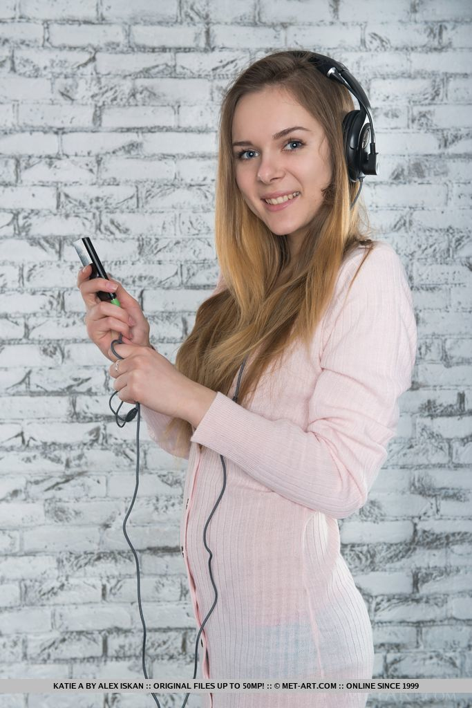 Teenage girl Katie A strips down while listing to her favourite music