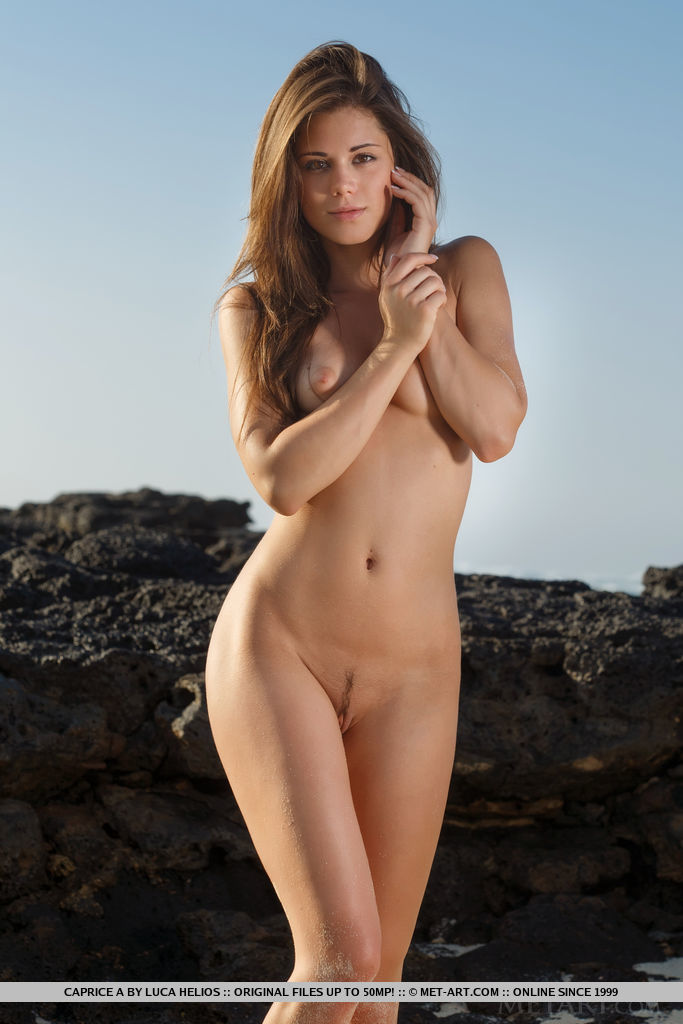 Youngster model Caprice a peels of swimsuits on gritty beach to unmask shaven vulva porn photo #394536868   Met Art, Little Caprice,, mobile porn