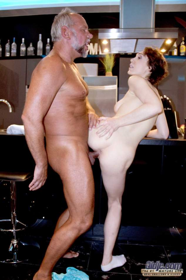 Naked teen attends to old lovers ball sac before sexual intercourse
