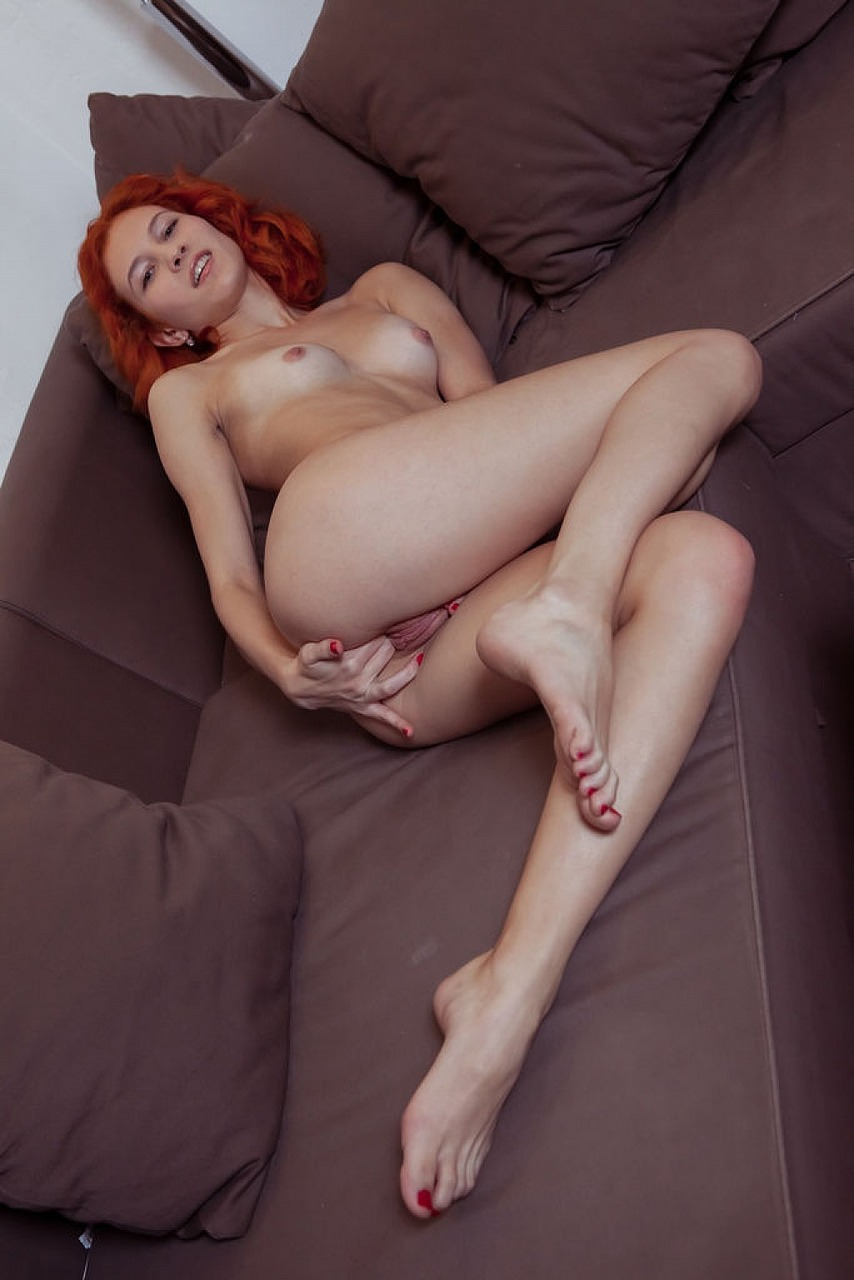 Sexy redhead Ambre shedding panties masturbating pussy  fingering close up