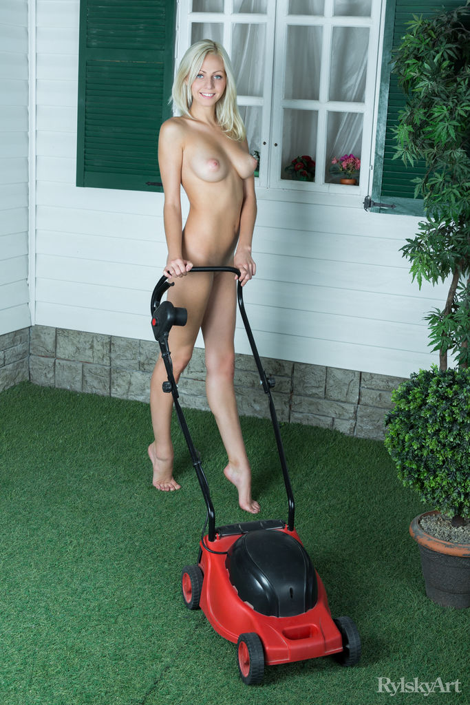 in nude Mowing the