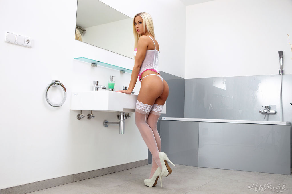 Hot blonde Lola spreading her hot ass  sexy pussy in white stockings  heels