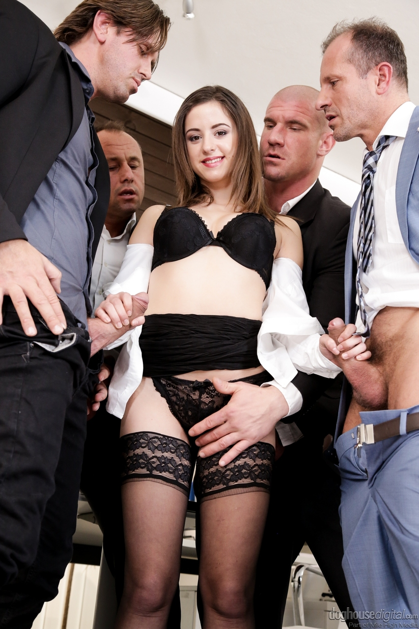 mature office gangbang - ... Office slut Gabrielle Lati does a gangbang at work which includes a  nasty DP ...