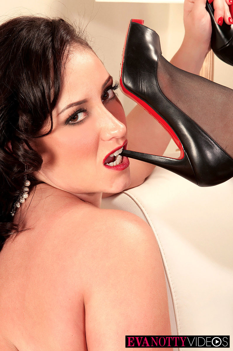 White housewife Eva Notty and her best friend model in nylons and garters