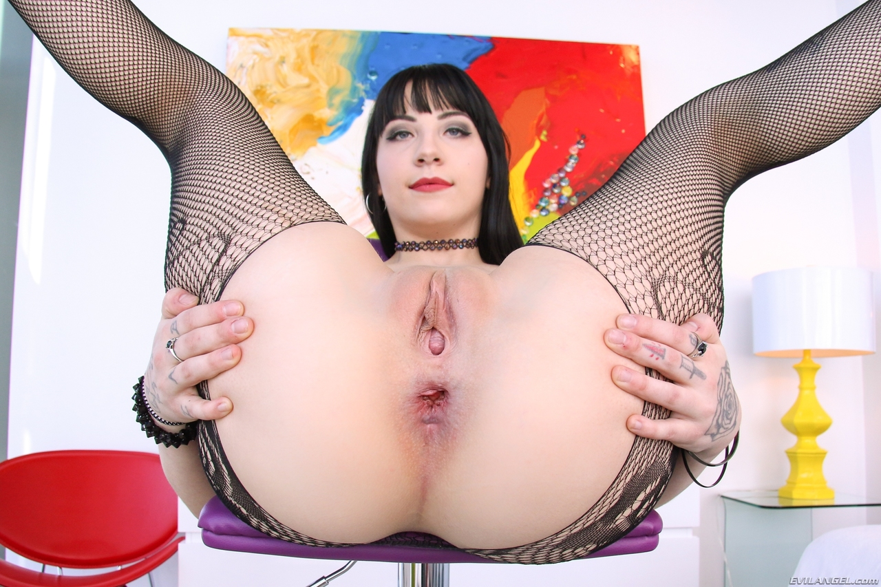 Charlotte Sartre shows her gaped pussy and anus while removing a stocking