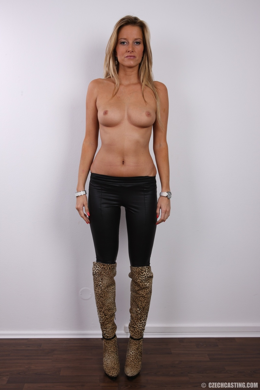 european first timer marketa removes her clothing and boots to pose