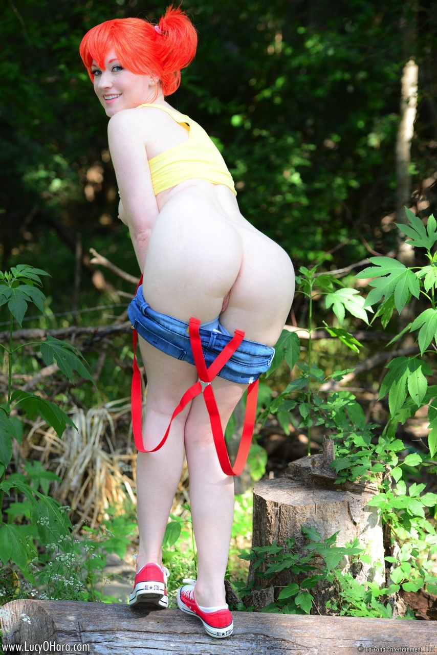 Solo girl Lucy OHara peels off her cosplay outfit in the woods