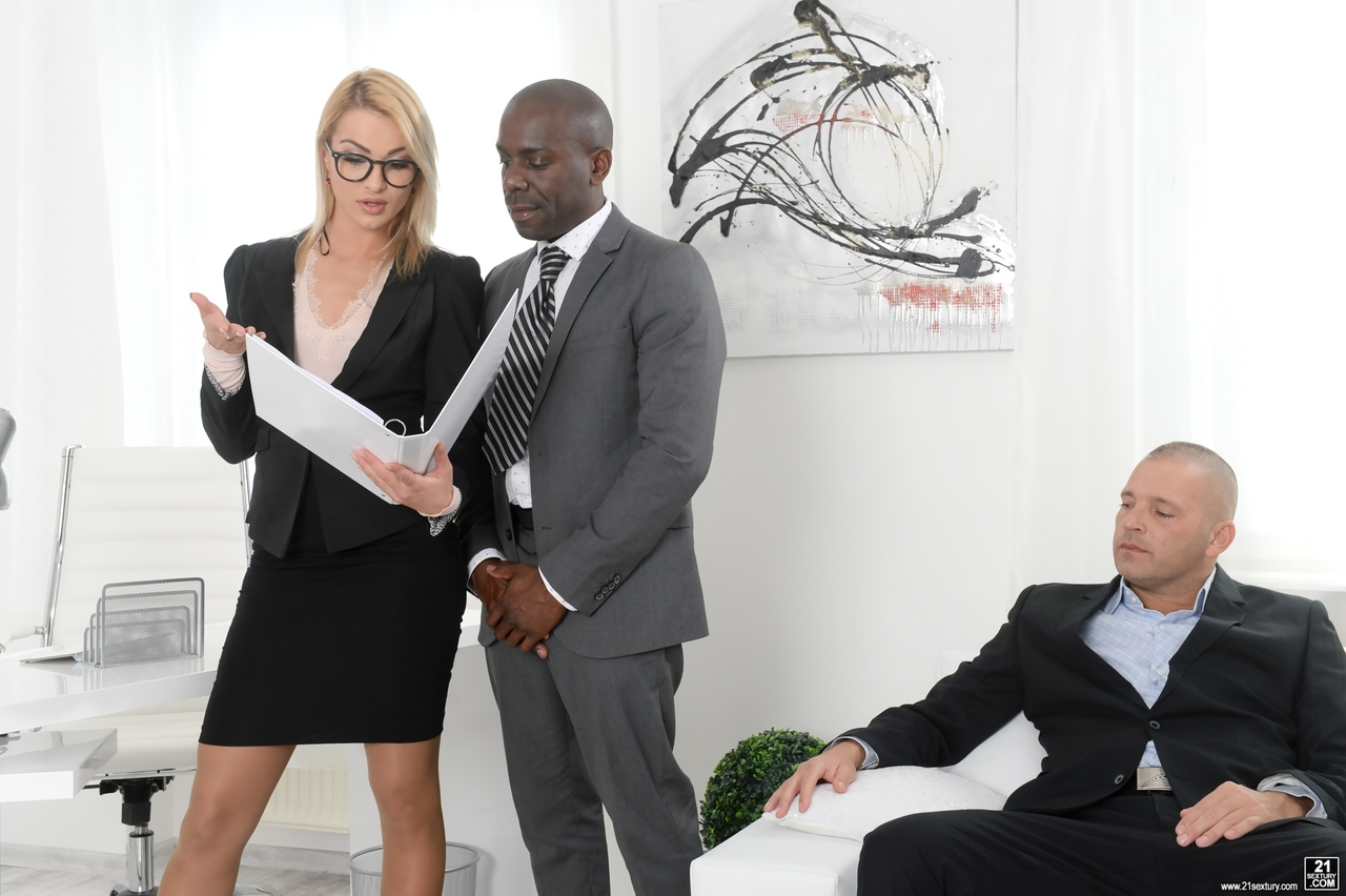 fucks Interracial boss white secretary black