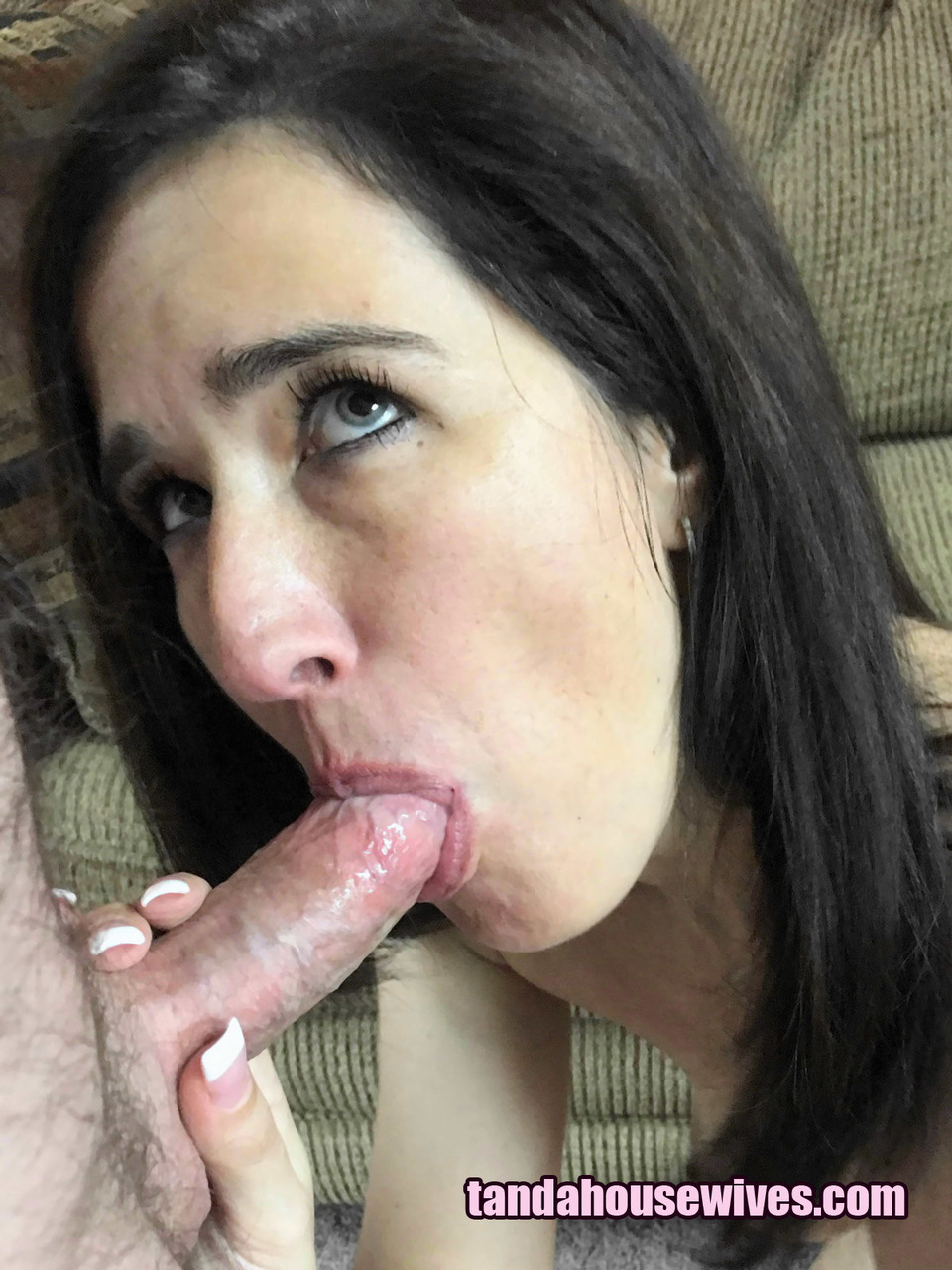 Slim female Deliah Dukes gets totally naked before oral sex on her knees