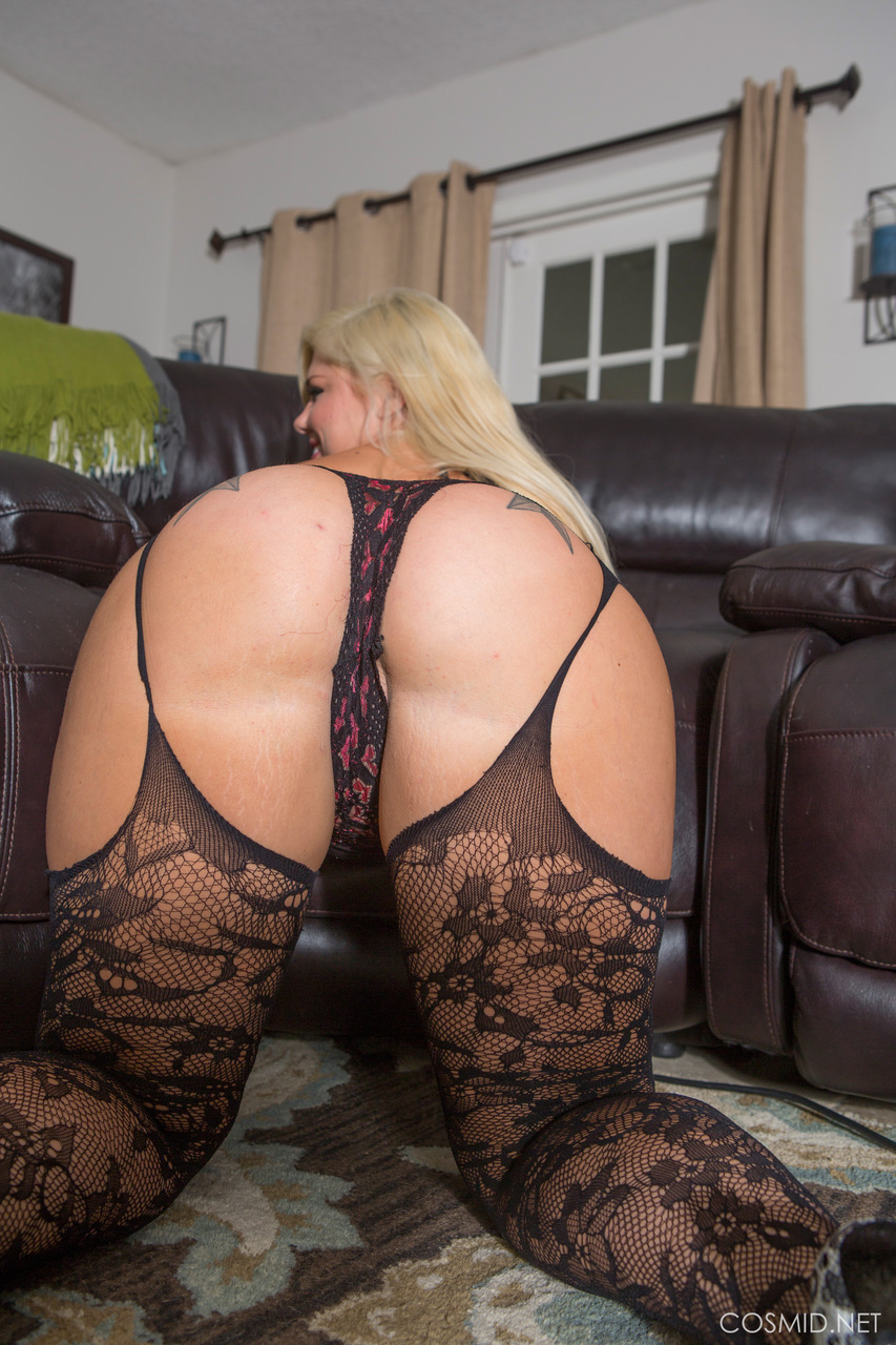 thick blonde in sheer lingerie bending over to show her big hot ass