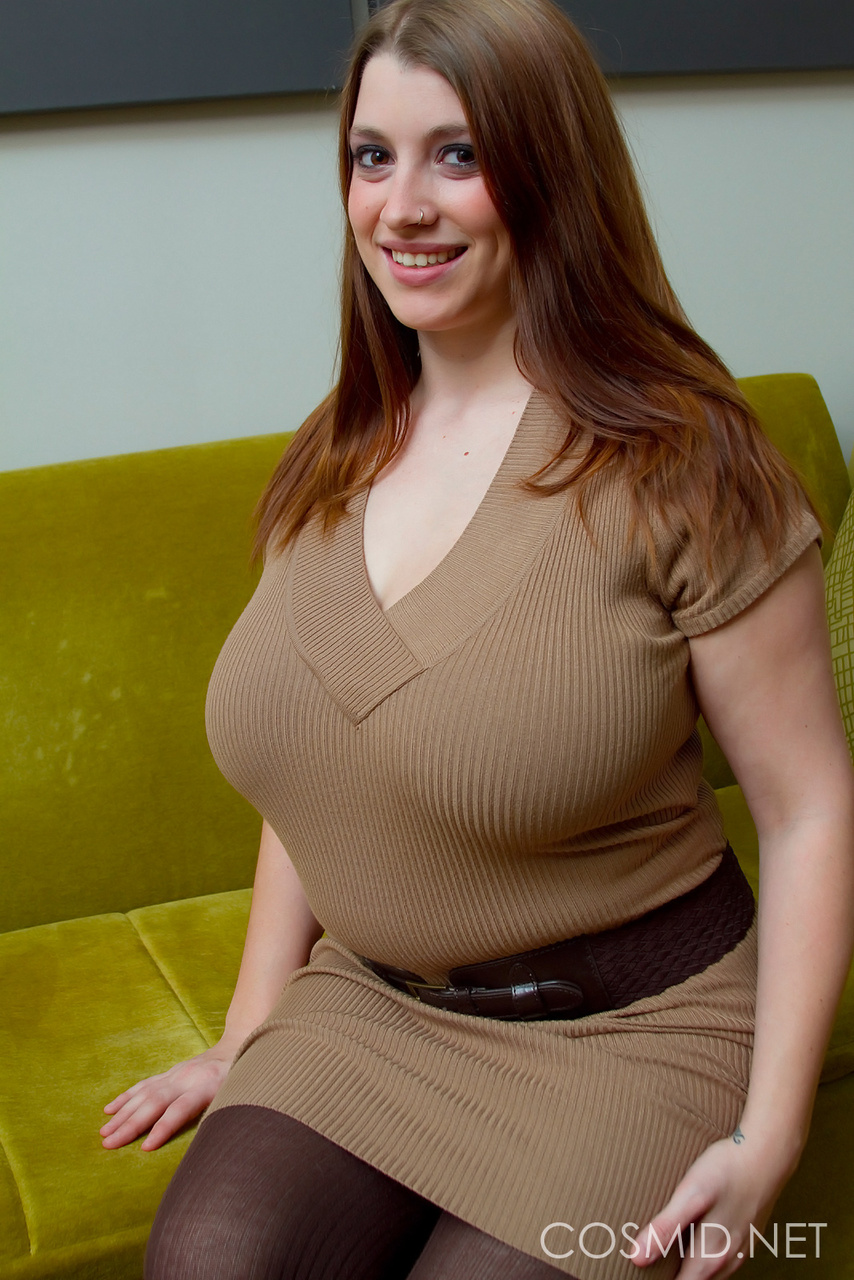 Sexy fatty Jaime removes her work clothes to let her massive juggs free
