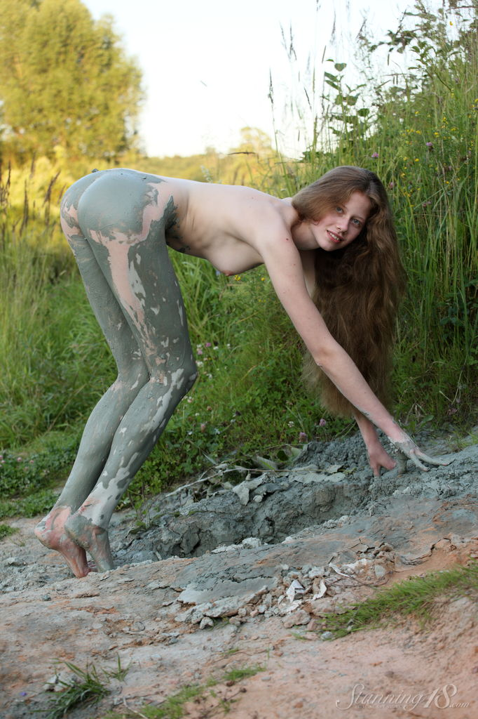 Naked girls playing mud your