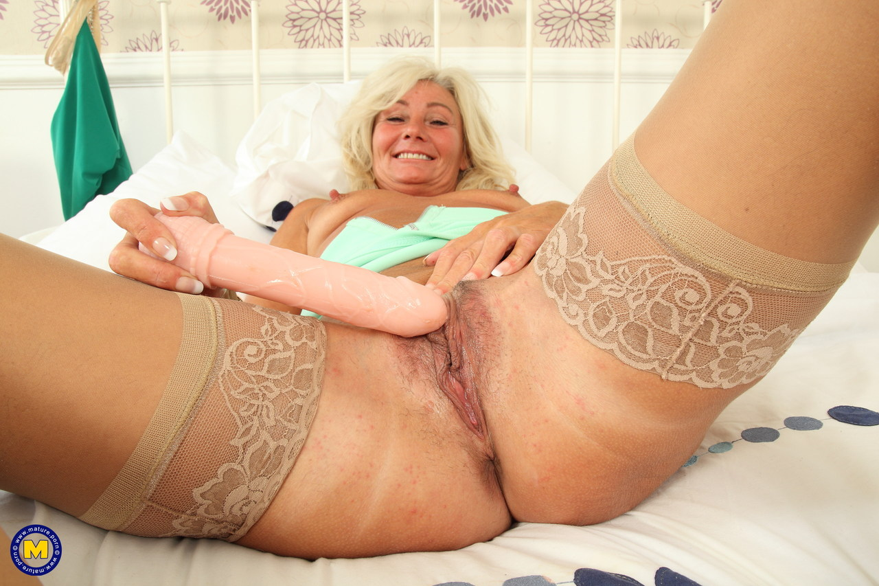 Blonde mature mom showing her pussy