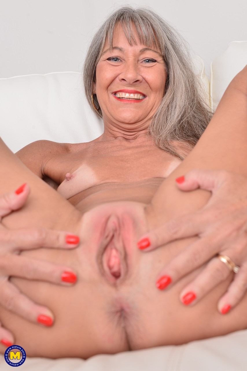 Grey haired granny in stockings gets cum on her hairy pussy 6