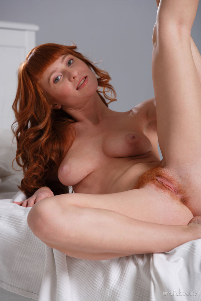 Natural hairy redhead ginger full frontal young