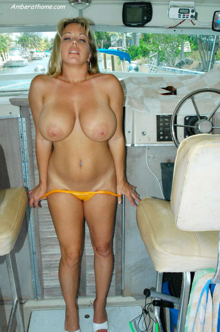 Wife showing her tits on boat