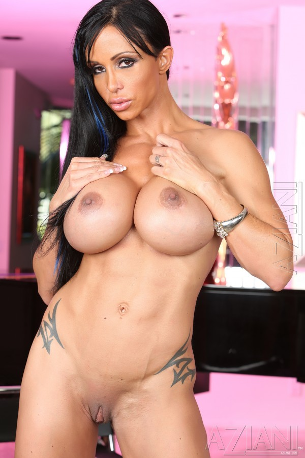 Muscle MILF Jewels Jade touching her large tits and sexy clitoris