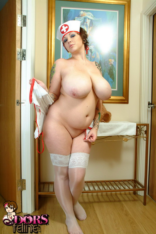 Amateur BBW Dors Feline sets her giant tits free of her naughty nurse uniform