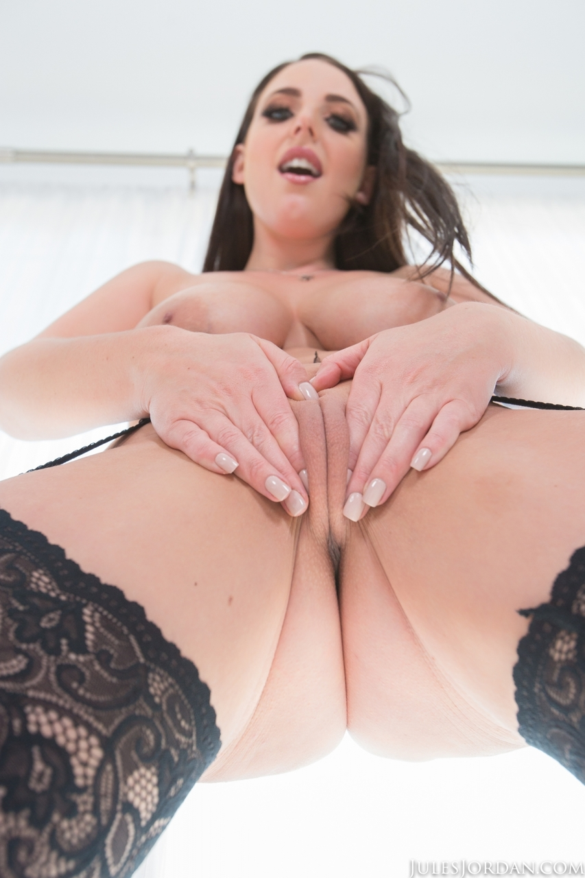 Hot MILF Angela White touts her great tits before sexual intercourse